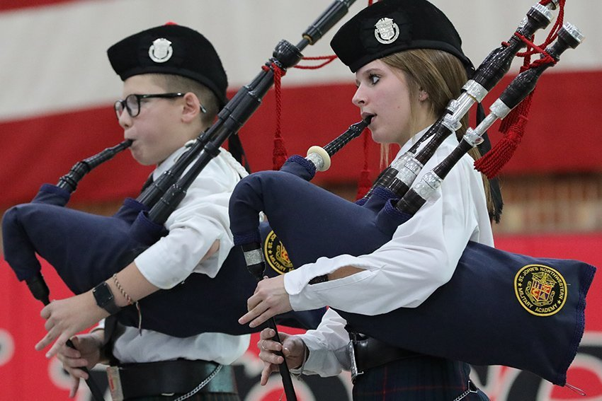 Students playing the bagpipes